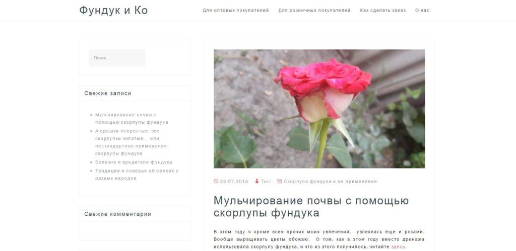 Створення сайту про фундук та горіхи